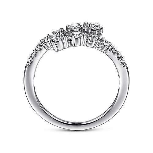 14K White Gold Diamond Bypass Open Ring