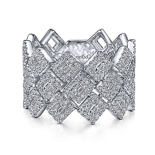 14K White Gold Diamond Checkerboard Wide Band