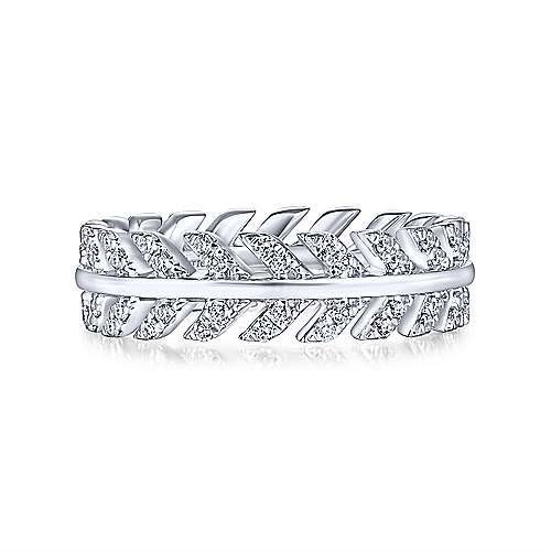 14K White Gold Diamond Chevron Eternity Ring