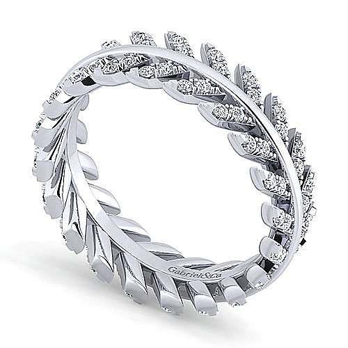 14K White Gold Diamond Chevron Eternity Ring
