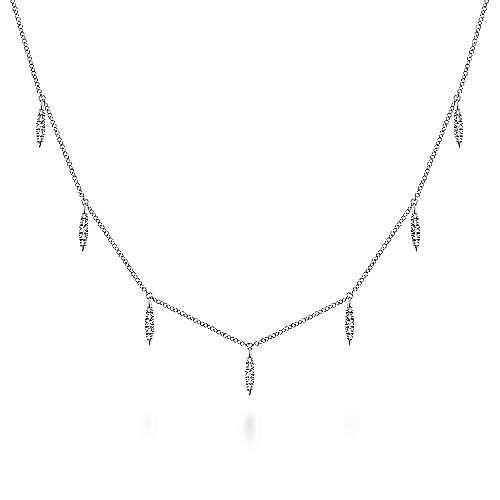 Gabriel - 14K White Gold Diamond Choker Necklace, 11.5-14.5inch