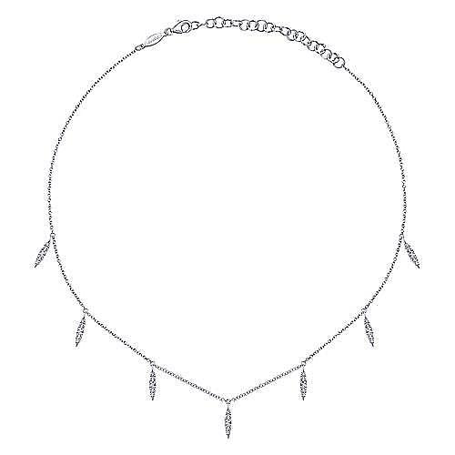 14K White Gold Diamond Choker Necklace, 11.5-14.5