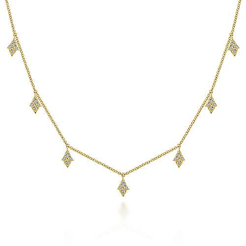 14K White Gold Diamond Choker Necklace with Diamond Kite Drops