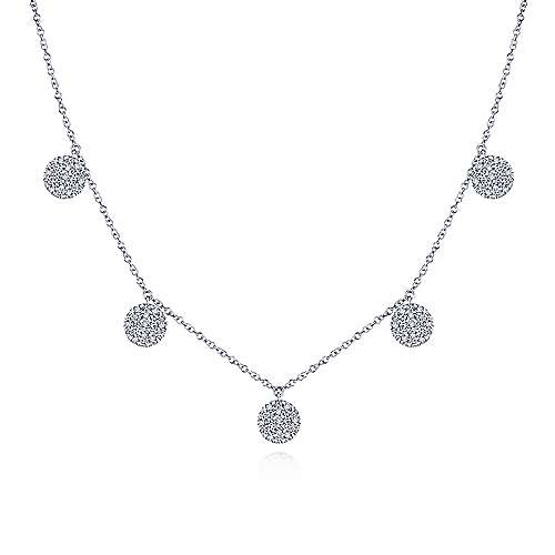 14K White Gold Diamond Choker Necklace with Pavé Diamond Disc Drops