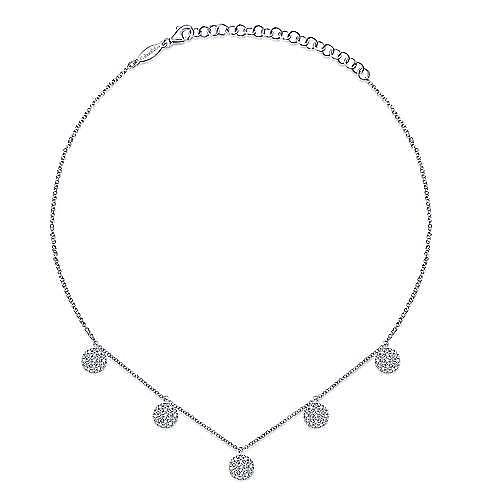 14K White Gold Diamond Choker Necklace with Pavé Diamond Disc Drops