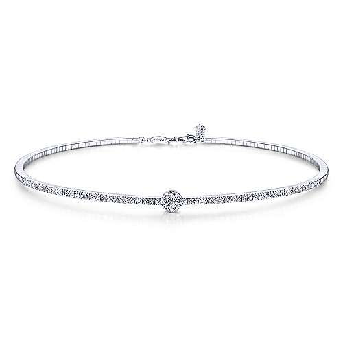 14K White Gold Diamond Choker Necklace with Round Cluster Station