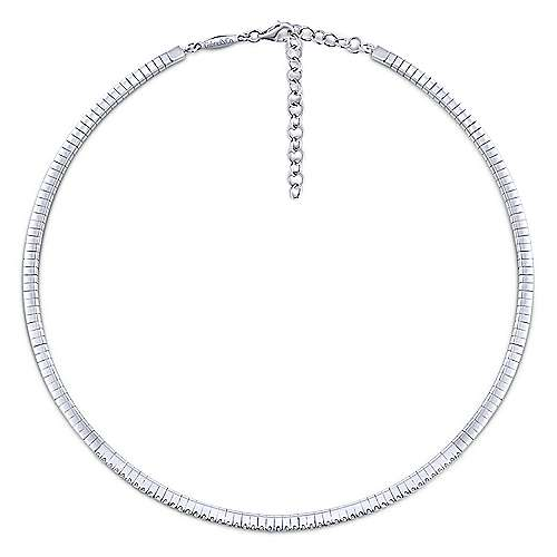 14K White Gold Diamond Choker Necklace