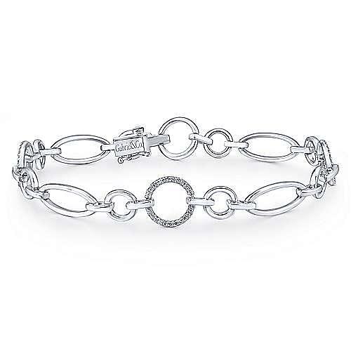 14K White Gold Diamond Circle and Oval Links Tennis Bracelet
