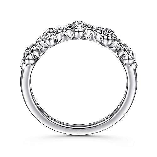 14K White Gold Diamond Clover Station Ring