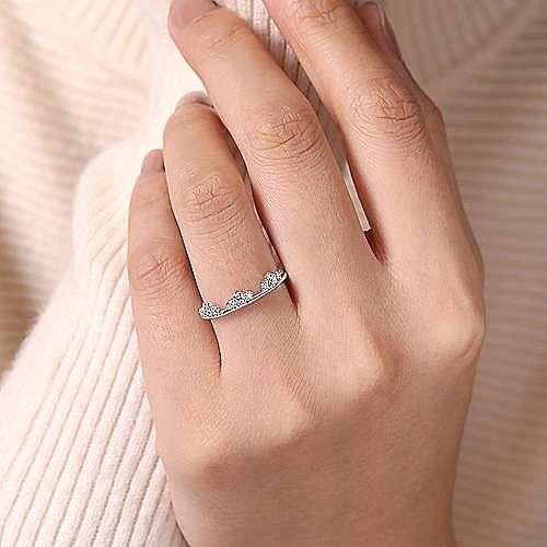 14K White Gold Diamond Cluster Crown Ring