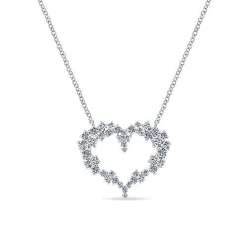 14K White Gold Diamond Cluster Heart Pendant Necklace