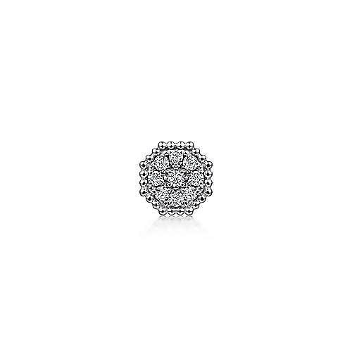 14K White Gold Diamond Cluster Single Stud Earring