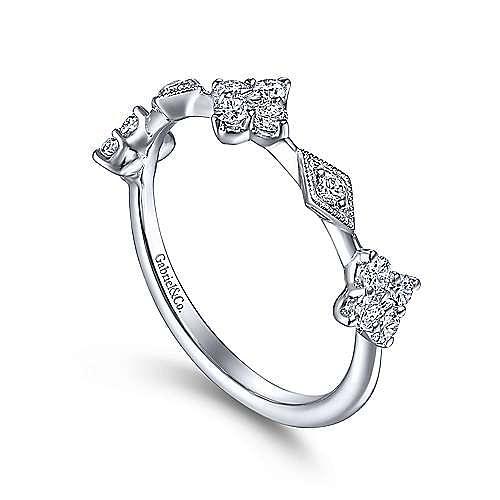 14K White Gold Diamond Cluster Station Ring