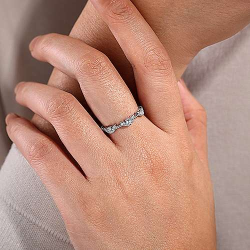 14K White Gold Diamond Cluster Station Stackable Ring