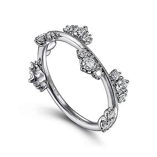 14K White Gold Diamond Cluster Stations Ring