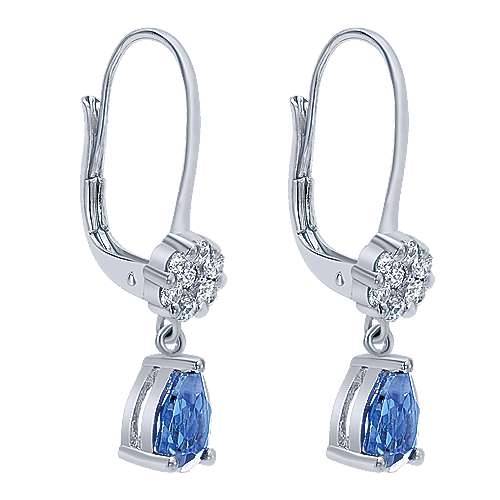 14K White Gold Diamond Cluster and Pear Shape Sapphire Drop Earrings