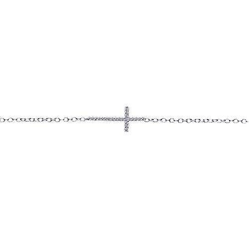 14K White Gold Diamond Cross Chain Bracelet