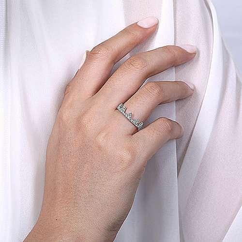 14K White Gold Diamond Crown Ring
