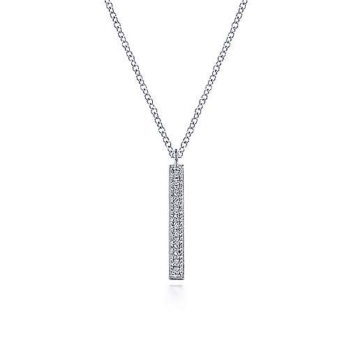 14K White Gold Diamond Drop Pendant Necklace