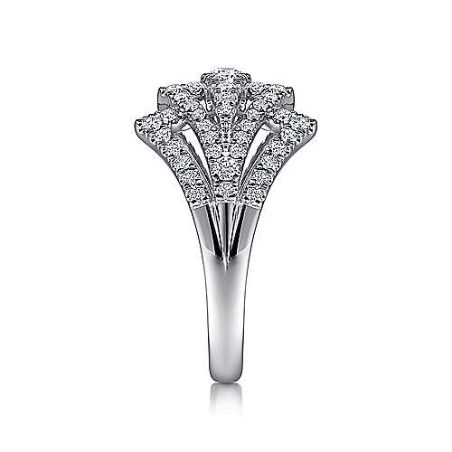 14K White Gold Diamond Fan Corset Ring
