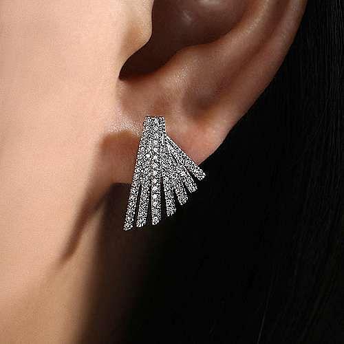 14K White Gold Diamond Fan Stud Earrings