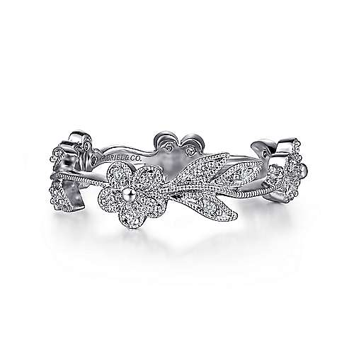 14K White Gold Diamond Floral Contoured Stackable Ring