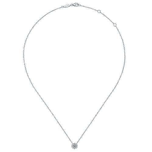 14K White Gold Diamond Flower Pendant Necklace