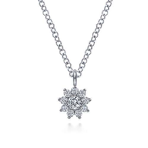 14K White Gold Diamond Flower Pendant Necklace