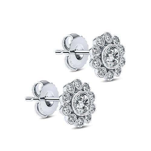 14K White Gold Diamond Flower Stud Earrings