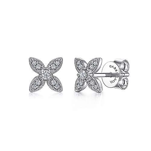 14K White Gold Diamond Flower Stud Earrings
