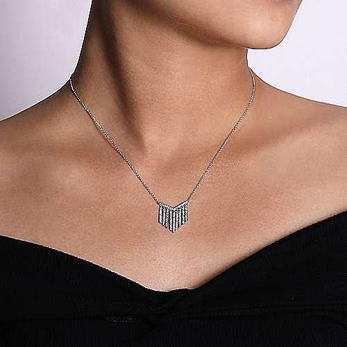 14K White Gold Diamond Fringe Necklace