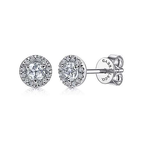 14K White Gold Diamond Halo and White Topaz Stud Earrings