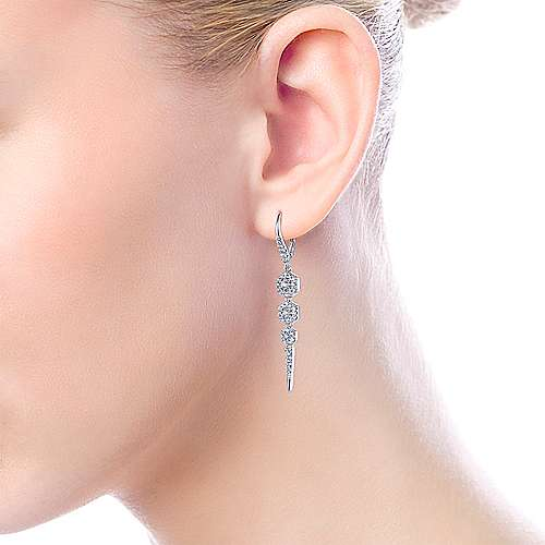 14K White Gold Diamond Hexagon Stations and Spike Drop Earrings