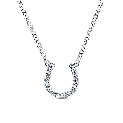 14K White Gold Diamond Horseshoe Pendant Necklace