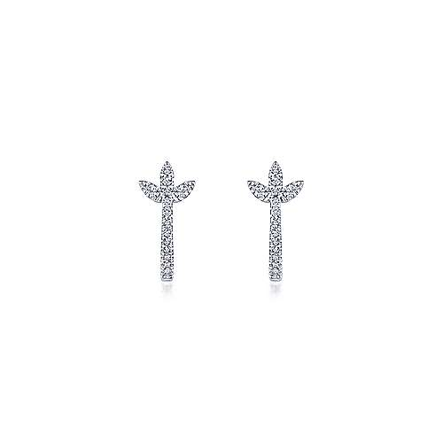 14K White Gold Diamond Huggies with Floral Accents