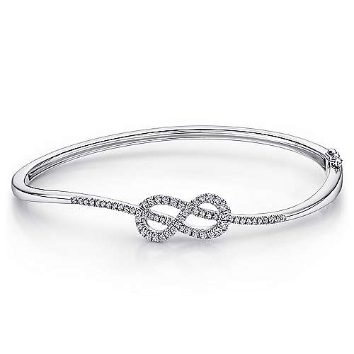 14K White Gold Diamond Infinity Bangle