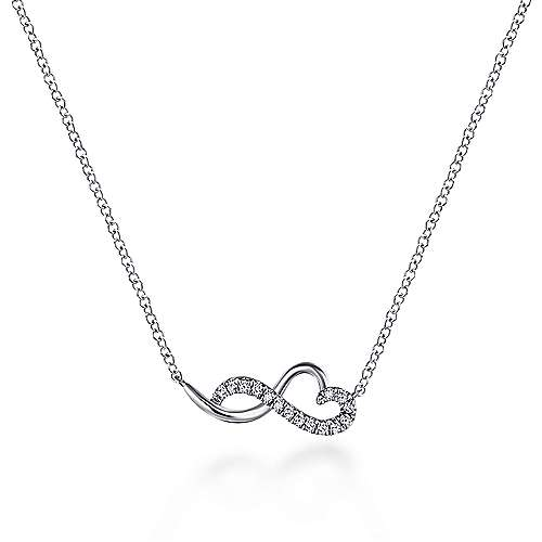 14K White Gold Diamond Infinity Heart Pendant Necklace