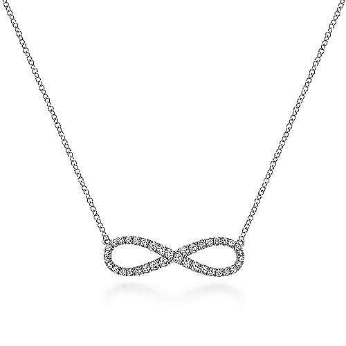 14K White Gold Diamond Infinity Symbol Pendant Necklace