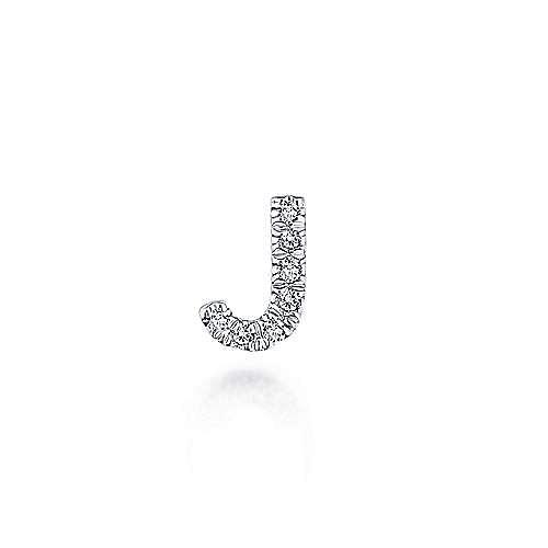 14K White Gold Diamond J Pendant