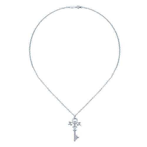 14K White Gold Diamond Key Pendant Necklace