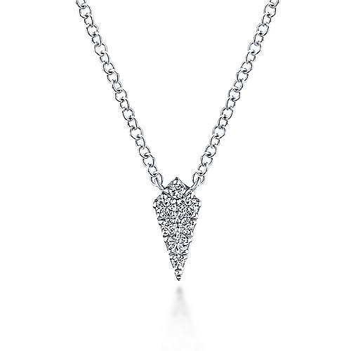 14K White Gold Diamond Kite Pendant Necklace