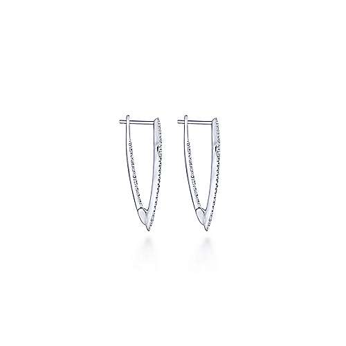 14K White Gold Diamond Kite Stud Earrings