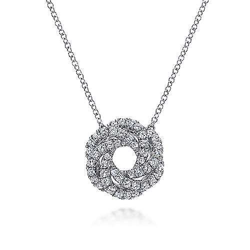 14K White Gold Diamond Knot Pendant Necklace