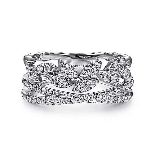 14K White Gold Diamond Leaf Cluster and Criss Cross Ring