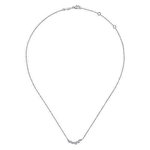 14K White Gold Diamond Leaf Curved Bar Necklace