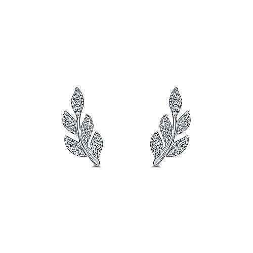 14K White Gold Diamond Leaf Stud Earrings