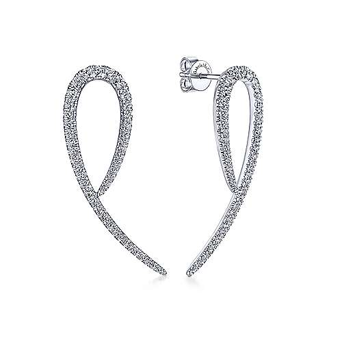 14K White Gold Diamond Loop Post Earrings