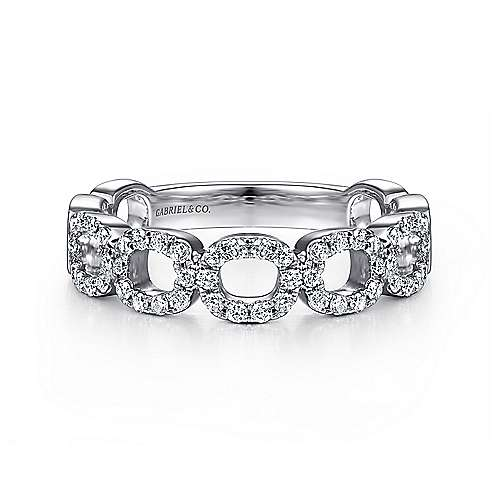 14K White Gold Diamond Loop Stackable Ring