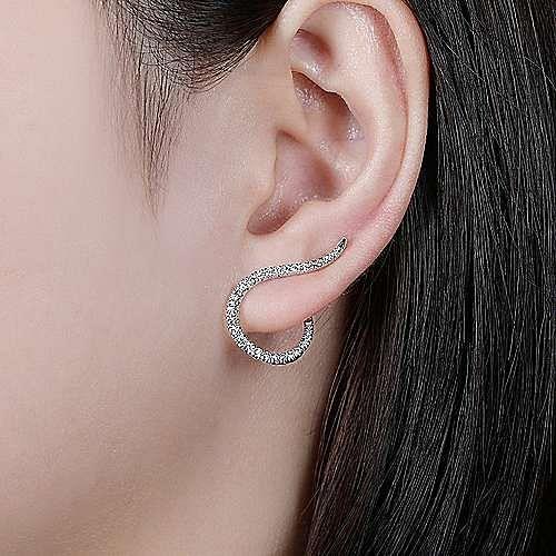 14K White Gold Diamond Loop Stud Earrings