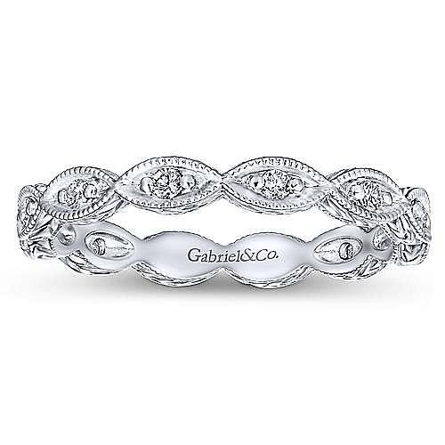 14K White Gold Diamond Marquise Station Eternity Ring